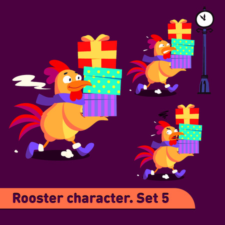 Vector illustrations set includes three running poses of rooster character with diffefent emotions carying gift boxes dressed in christmas suit in funny colorful cartoon style