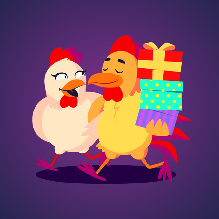 Vector illustration. A smiling rooster and hen carying gift boxes in funny colourful cartoon style Illustration