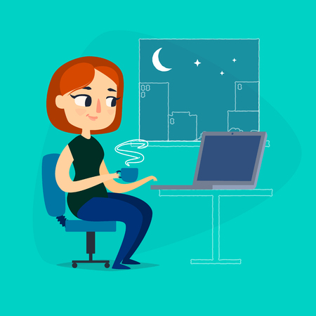Girl with notebook and cup of coffee at night Illustration