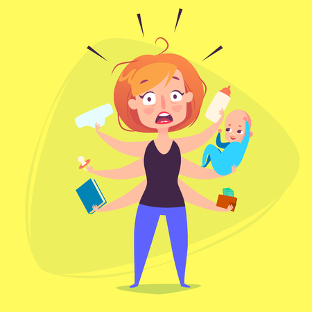 A woman with a child is panicking because of duties. Illustration