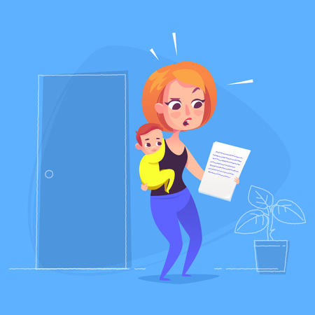 Woman with child looking at document. Vector Illustration
