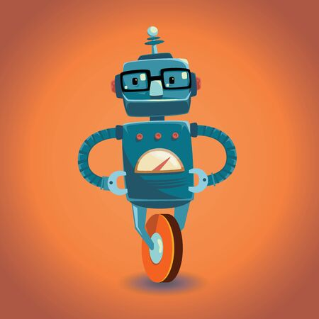 Smart robot with glasses on wheel. Vector illustration. Ilustrace