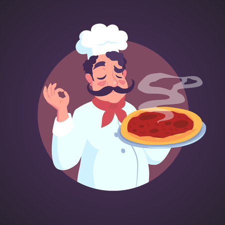 Chef of Italian appearance and steaming pizza. Vector illustration.