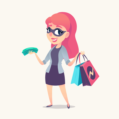 Smiling redhead woman as mystery shopper in mask, with purchases and money in hands. Vector illustration.