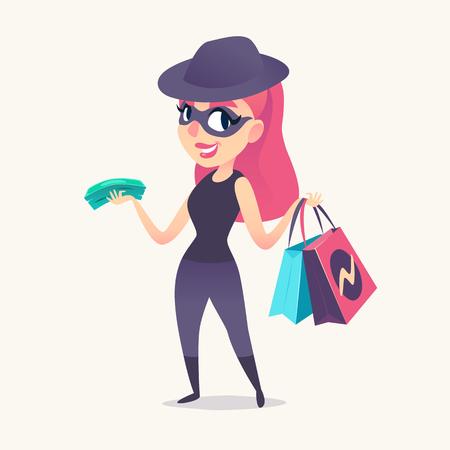 Sonriente mujer espía pelirroja como comprador misterioso en máscara, sombrero negro y traje oscuro, con compras y dinero en las manos ... Ilustración vectorial.