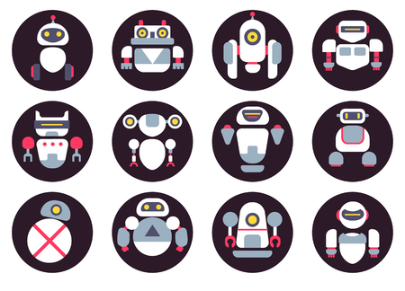 Set of twelve cute flat robots avatars. Five colors. Ilustrace