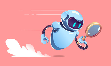 Search metal bot with magnifier is is fast flying. SEO robot vector illustration.