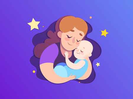 Mothers day paper illustration. Mom keeps a sleeping son behind stars background