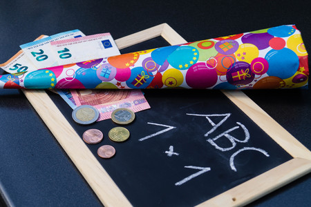 many costs for the first day of school Stock Photo