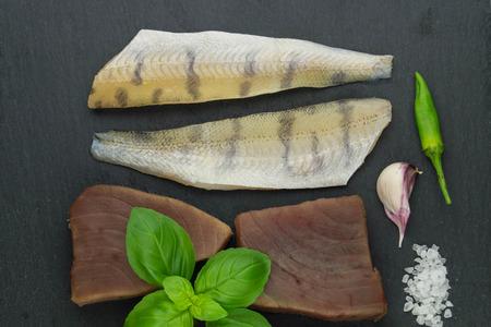 Tuna Salmon and pike perch filet