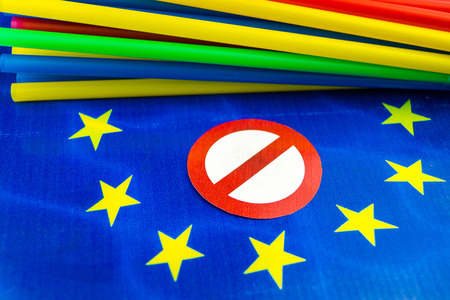 Europe bans straws and plastic tableware because of microplastics in the oceans Фото со стока