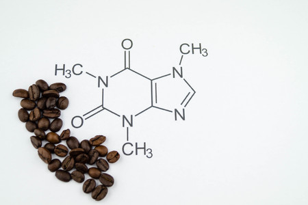 chemical structure of a caffeine molecule