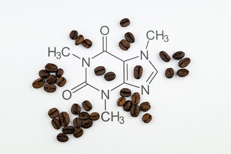chemical structure of a caffeine molecule