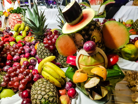 perfect food carving and fruits as decoration