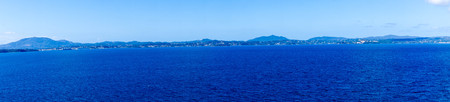 Corfu city old town and fortress from the perspective of a cruise ship 스톡 콘텐츠