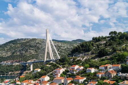 Most famous Franjo Tudjman Bridge in Dubrovnik Croatia 免版税图像
