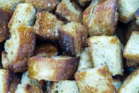 Crisp croutons bread cubes with olive oil and sea salt