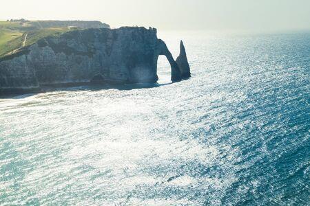 The White chalk cliffs of Etretat Normandy France