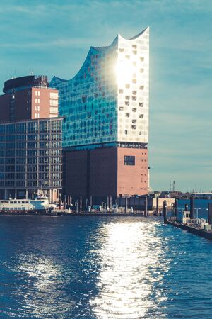 Elbphilharmonie and port of Hamburg Germany