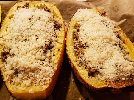 The spaghetti pumpkin cucurbita pepo is perfect for gratinating with cheese