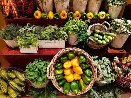Herbs and vegetables on a farmers market Stock Photo - 138270784