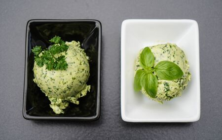 Fresh Selfmade herb butter with Garlic