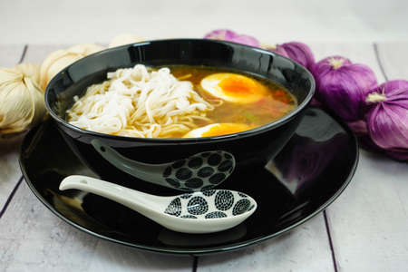 a freshly cooked Japanese ramen soup