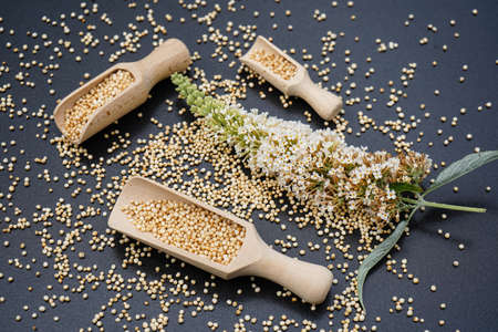 Quinoa seed on a wooden table