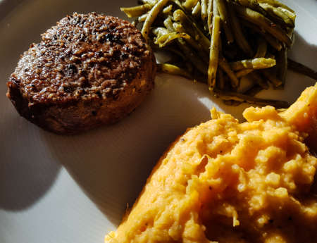 Fillet of beef with green beans and sweet potato puree