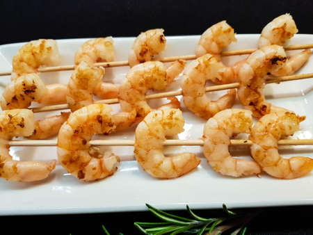 some fresh spiced and roasted shrimps Stockfoto