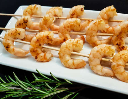 some fresh spiced and roasted shrimps