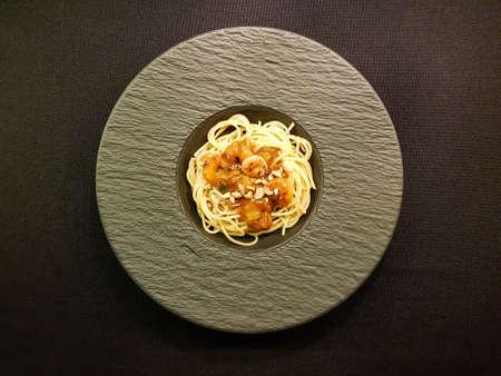 White Tiger Prawns in Peanut Sauce on Spaghetti