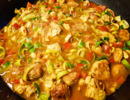 spicy chicken curry with vegetables