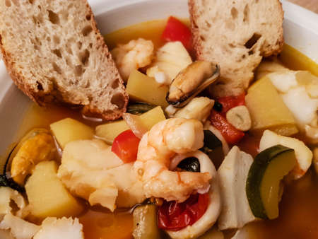 ingredients for a portuguese seafood cataplana Imagens