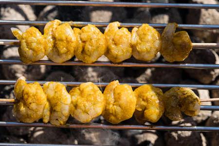 grilled White Tiger Prawns with Bacon Potato Salad
