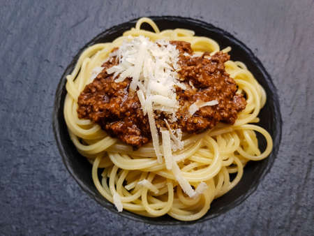 Spaghetti Bolognese with tomato sauce