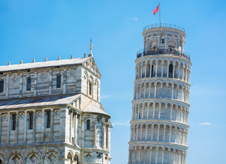 Piazza dei Miracoli of Pisa, is a splendid square full of works of art the famous tower of Pisa, historical and majestic Stock Photo