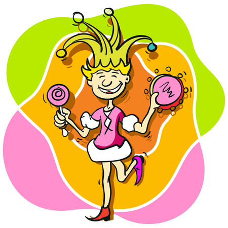 buffoon: Princess buffoon with a tambourine and a lollipop