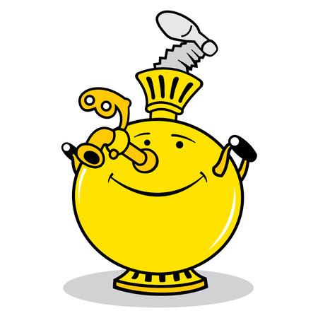 ebullition: �quipement pour la cuisson signe de th� isol� sur fond blanc Illustration