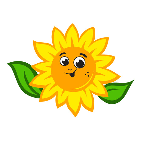 Smile Sunflower sign Isolated on white background Иллюстрация