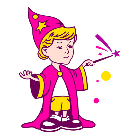 fibber: Young magician isolated on a white backgrounds