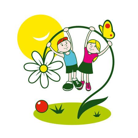 Branding identity corporate children symbol isolated on white background Illustration