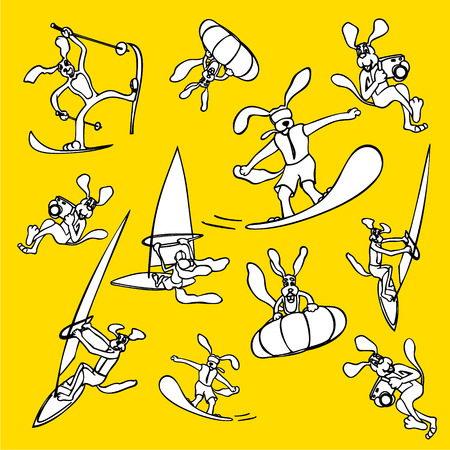 slalom: Dog sports and healthy lifestyle drawn icons Illustration