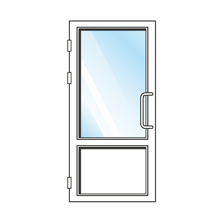 glass door: White plastic front door with glass on white background Illustration