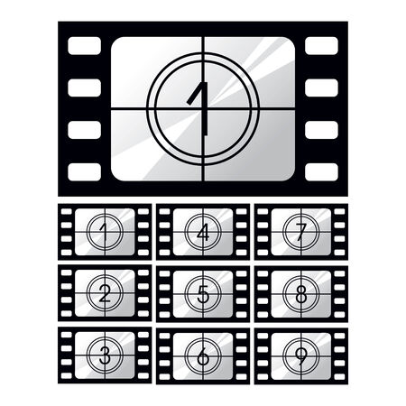 Cinematographic film, storyboard icon set on white background Иллюстрация