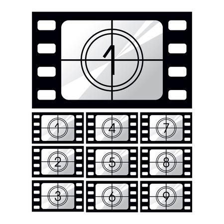 cinematografico: Pel�culas cinematogr�ficas, icono gui�n gr�fico situado en el fondo blanco
