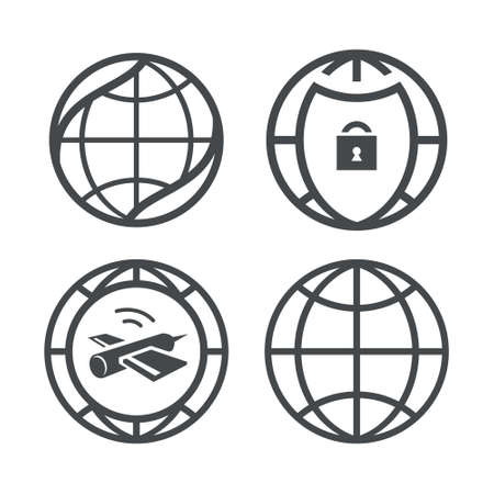 security token: Icons of Environment, Safety, science, communication on white background