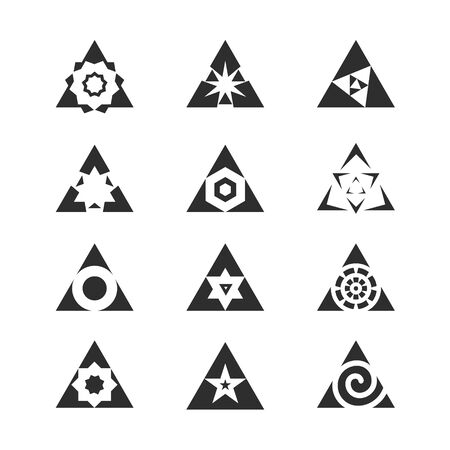 variety: Variety of geometric shapes enclosed in a triangle