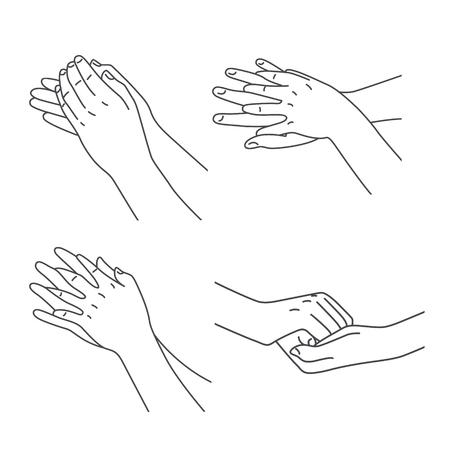 phalanx: L'igiene delle mani e la pulizia dei microbi e con detersivo Vettoriali
