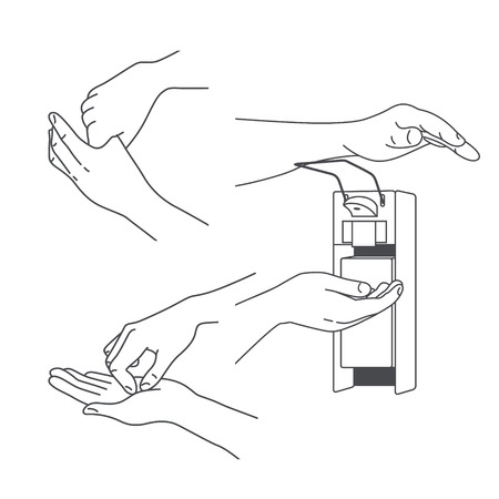 Hand hygiene and cleaning of microbes using detergent Illustration